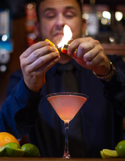 Dublin Citi Hotel barman Lukasz preparing Cosmo cocktail