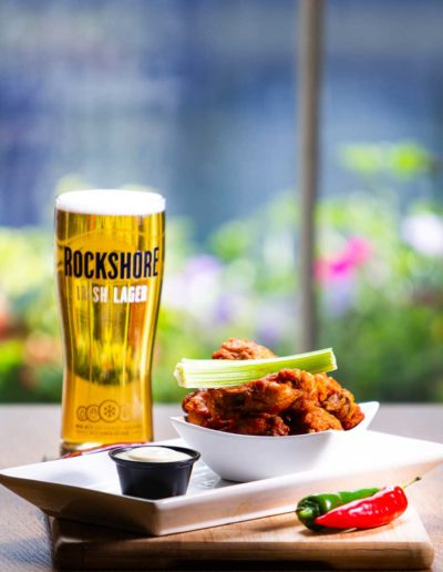 Dublin Citi Hotel Chicken wings and a Rockshore pint